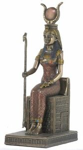 Isis Sitting Egyptian Statue Veronese Bronze Figurine Winged Goddess Life Love