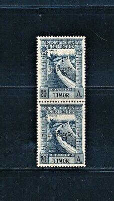PORTUGAL TIMOR 1947  PAIR WITH LIBERTACAO OVERPRINT SCOTT 245J CATALOG $155