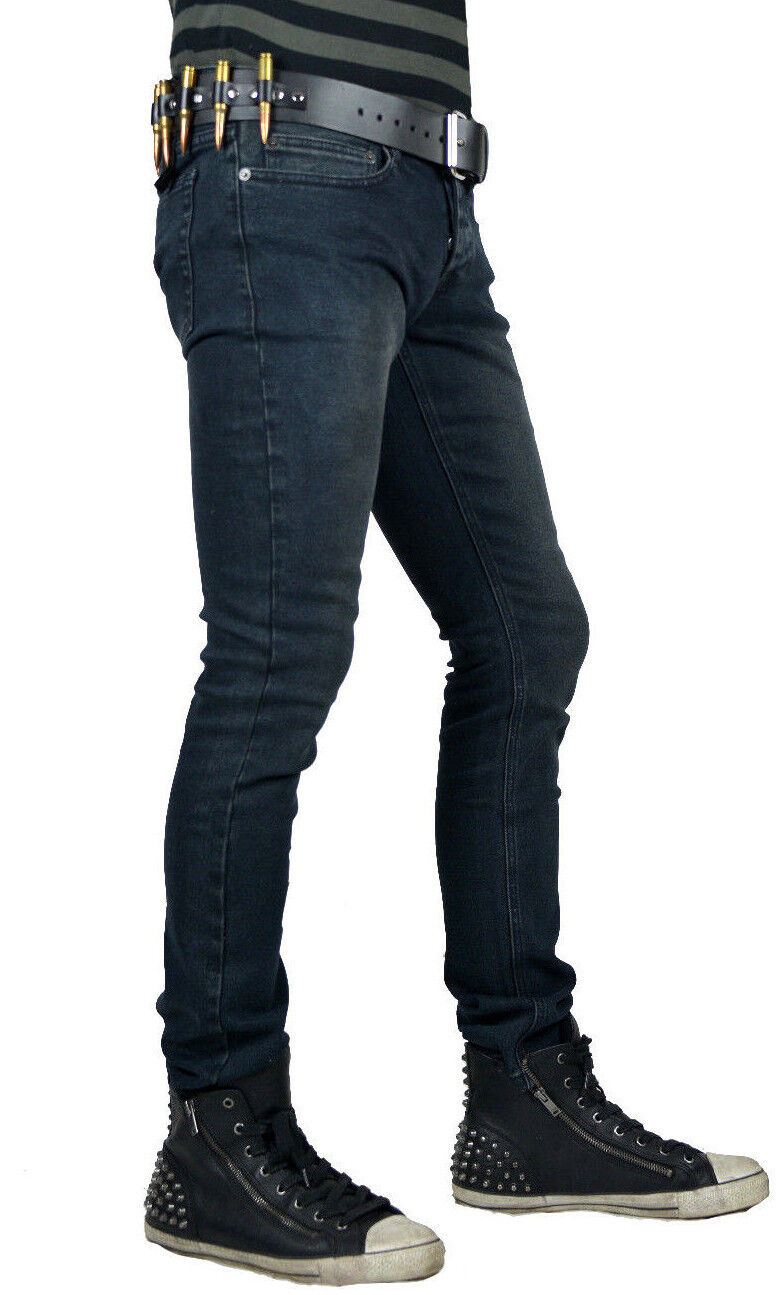 KILL CITY ROCKER NEEDLE FIT SKINNY STRETCH GOTHIC PUNK STAGE JEANS PANTS BIKER Clothing, Shoes & Accessories