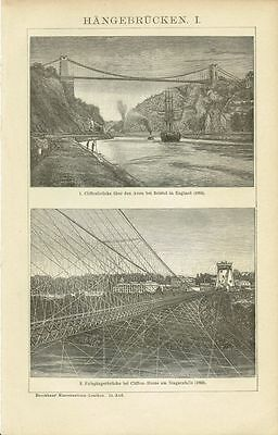 Tafel ARCHITEKTUR: HÄNGEBRÜCKEN / CLIFTON / NIAGARA 1894 Original-Holzstich