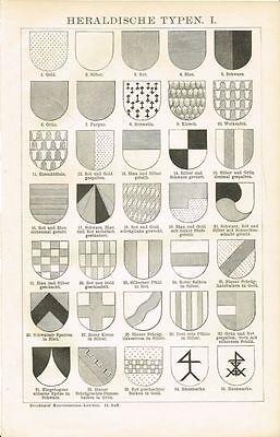 Tafel HERALDIK / WAPPEN 1894 Original-Holzstich