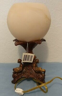 Marbled Cream Round Glass Globe Accent Uplight Monkeys Reading Book Lamp 13