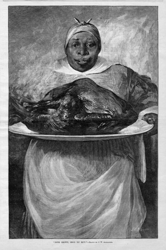 THANKSGIVING TURKEY COOKED AND SERVED BY NEGRO COLORED MAID PLATTER ANTIQUE