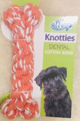 Pet brands Knotties Dental Cotton Bone Extra Large Dog Toy Orange New Carded