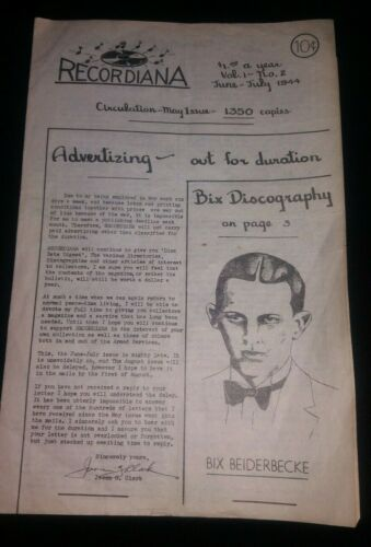 Vintage RECORDIANA Jazz Magazine June July 1944 RARE Bix  Beiderbecke Vol 1 No 2