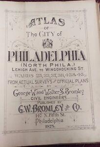 ORIGINAL 1925 G.W. BROMLEY PHILADELPHIA PA TITLE PAGE ATLAS MAP