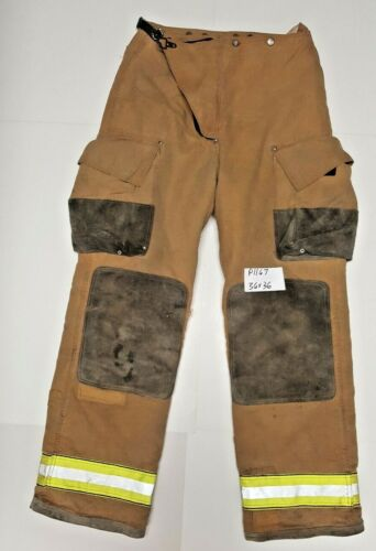 36x36 36x35 Globe Traditional Brown Firefighter Turnout Pants Yellow Tape P1167