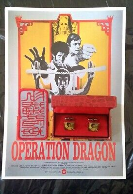 Bruce Lee Vintage cuff links with Enter the Dragon promo card and patch