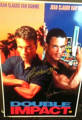 13x19 - Autographed - Poster - Double Impact - Jean Claude Van Damme + COA