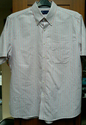 M&S Tailoring Short Sleeve Oxford Shirt Loose Fit Size 16.5