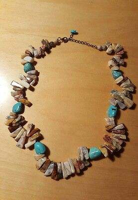 """Vtg. Navajo Turquoise and Polished Jasper Nuggets Necklace  18 3/4"""" long"""