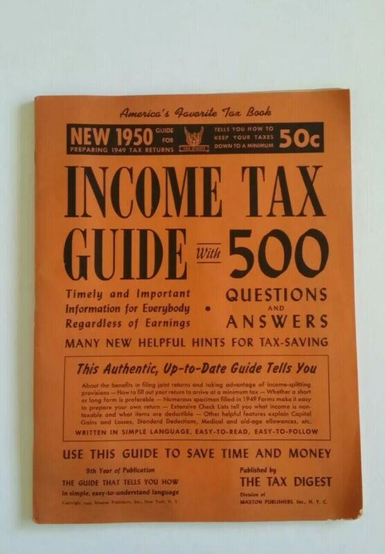 Vintage The Tax Digest 1950 Income Tax Guide Booklet w/500 Questions & Answers