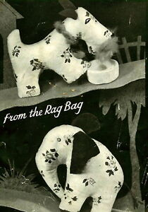 Vintage-1940s-rag-bag-elephant-scottie-dog-toy-sewing-pattern-paper-pieces