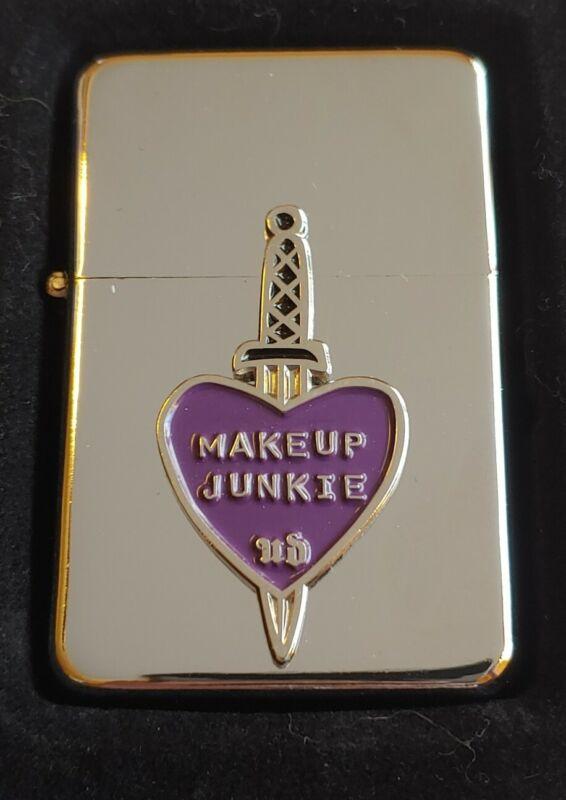 STAR-1 HIGH POLISH CHROME Lighter w/ Metal MAKEUP JUNKIE Emblem