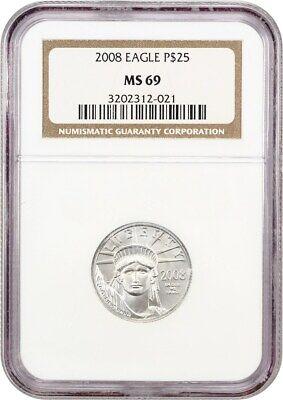 2008 Platinum Eagle $25 NGC MS69 - Statue Liberty 1/4 oz