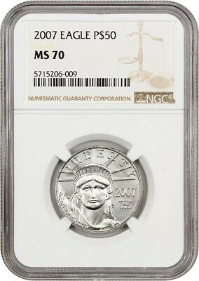 2007 Platinum Eagle $50 NGC MS70 - Statue Liberty 1/2 oz