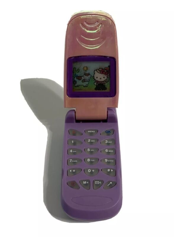 Hello Kitty Toy Cell Phone Flip Phone Screen Pink Purple Plastic Vintage