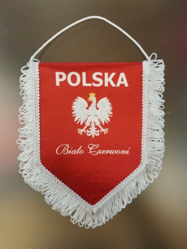 "Poland ""Polska Biato Czerwoni"" Eagle Hanging Decorative Banner - 7 1/2"" X 5 1/2"""