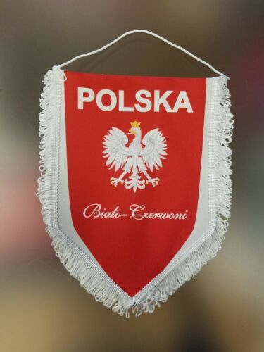 "Poland ""Polska Biato Czerwoni"" Eagle Hanging Decorative Banner - 8"" X 11"""