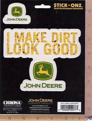 "John Deere Tractor Logo ""I Make Dirt Look Good"" Decal Window Sticker Chroma 9977"