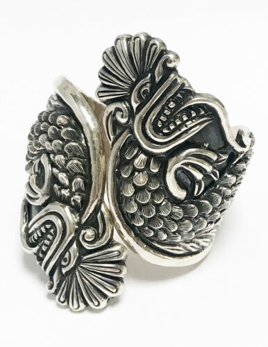 VINTAGE MEXICAN DECO STERLING SILVER 2 DRAGON HEADS CLAMPER BRACELET MEXICO 1940