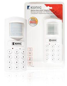 KÖNIG Bewegungsmelder mit Telefonwahl Mini Alarmanlage Alarm Büro Garage Heim