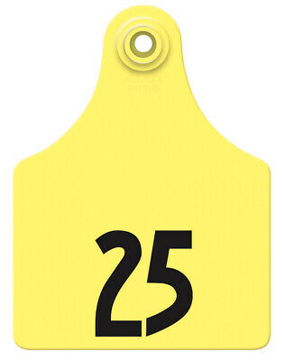 Allflex Global Maxi Numbered Cattle Ear Tags Yellow 26-50