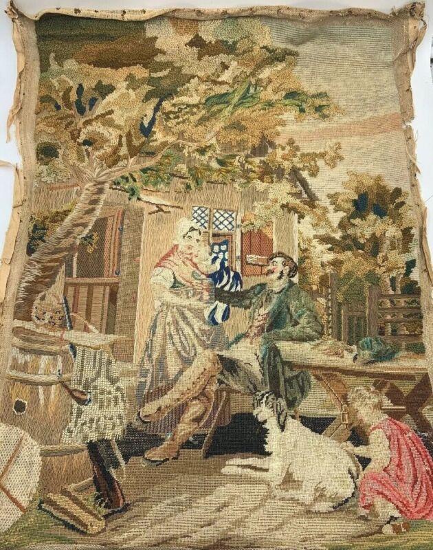 Antique French Fine Needlepoint Sampler Stumpwork Tapestry Family Dog House