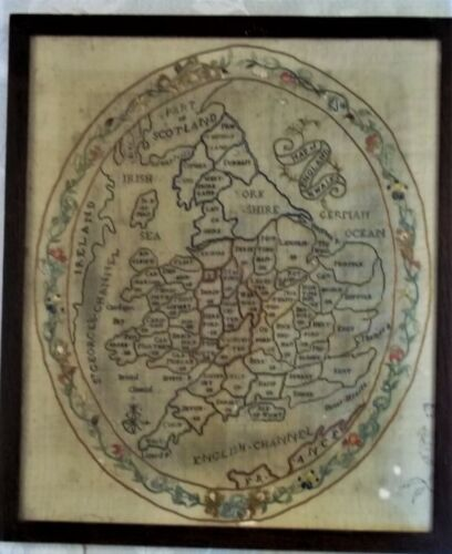 Lovely Georgian Antique Map of England and Wales Sampler, .