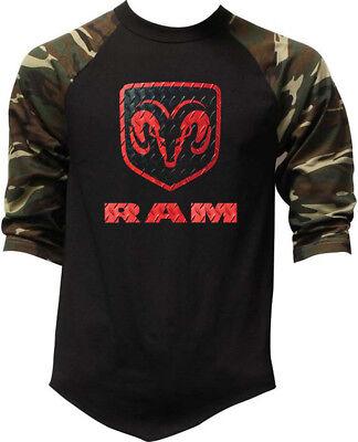 New Men's Dodge Ram Logo Camo Baseball Raglan T Shirt Offroad Truck Classic Cars ()