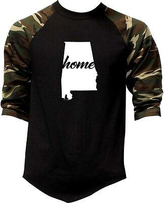 Men's Home Alabama Map Camo Baseball Raglan T Shirt State Hometown Proud AL V337 (Alabama State Map T-shirt)