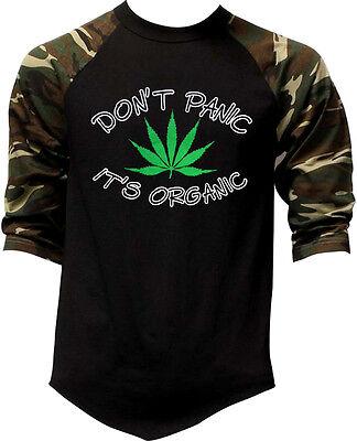 Men's Don't Panic It's Organic Camo Baseball Raglan T Shirt Kush Weed 420 (Baseball Organic Mens T-shirt)