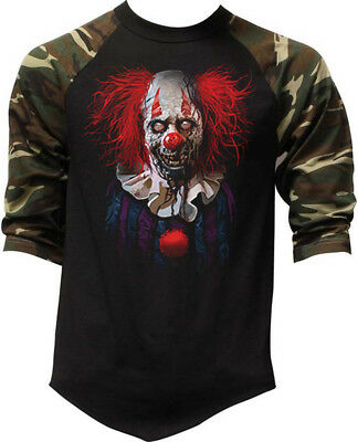New Men's Zombie Clown Camo Baseball Raglan T Shirt Halloween Scary Costume Mask - Mens Baseball Halloween Costumes