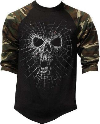 New Men's Black Widow Camo Baseball Raglan T Shirt Halloween Scary Spider Skull](Scary Black Widow Spider)