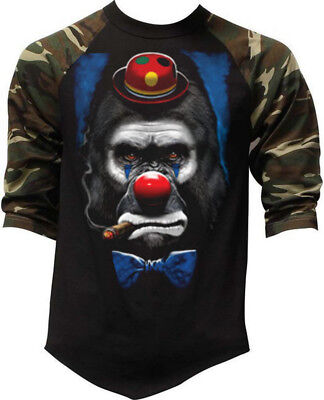 Men's Gorilla Clown Camo Baseball Raglan T Shirt Halloween Scary Funny Costume - Mens Baseball Halloween Costumes