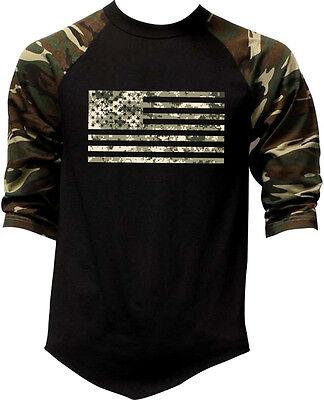 Men's Digital Camo Flag Camo Baseball Raglan T Shirt Military American USA - Army Digital Camo T-shirt