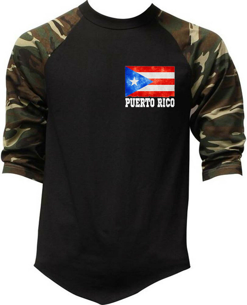 Men's Puerto Rico Flag Chest Baseball Raglan T Shirt Puerto