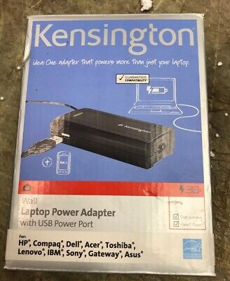 NEW IN BOX: KENSINGTON WALL LAPTOP POWER ADAPTER. USB POWER PORT, CABLE, TIPS. Kensington Power Port