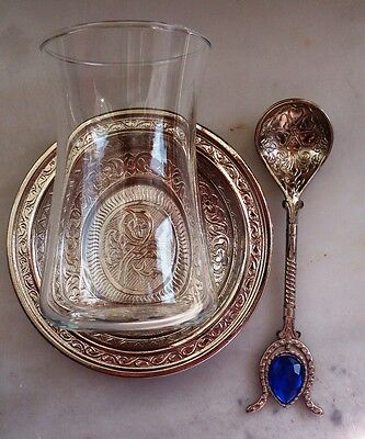 Turkish Tea Glass Cup & Copper Saucer & Spoon, Chick -Elegant Gift Set-M.05-a