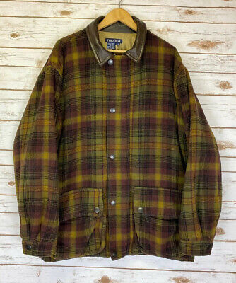 NAUTICA Rustic Plaid Wool Coat With Leather Collar Quilted Lining Sz Men's Large