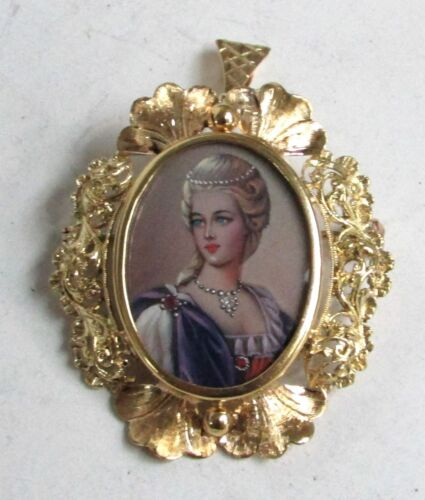 BEAUTIFUL ITALIAN 18K GOLD WITH PAINTED CAMEO PIN BROOCH & PENDANT