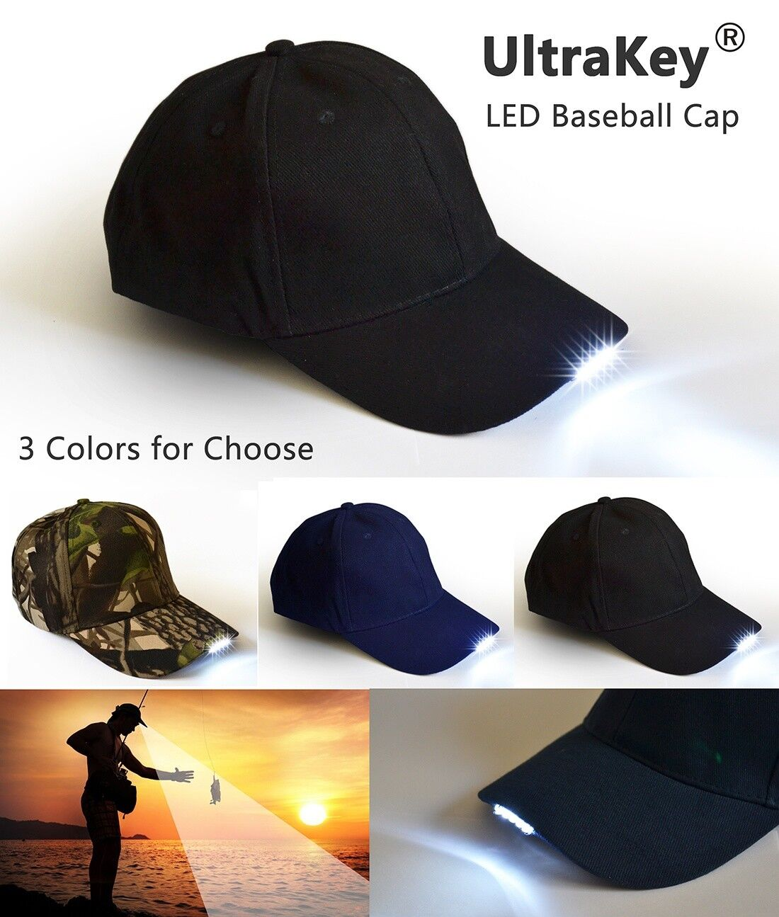 New Baseball Cap Hat With 5 Bright Led Lights Torch Night Fishing Camping Amtech