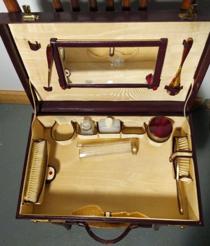 VINTAGE Vanity Case 1940s - 50s  Makeup Grooming Suitcase Luggage w/ Contents