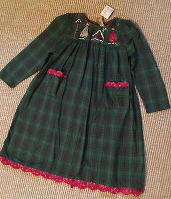 Girls Village (New April Cornell Village Girls Xmas Green Plaid Flannel Dress sz)
