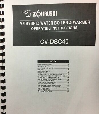 OWNER'S MANUAL only for Zojirushi VE Hybrid Water Boiler & Warmer  (Zojirushi Cv Dsc40 Ve Hybrid Water Boiler)