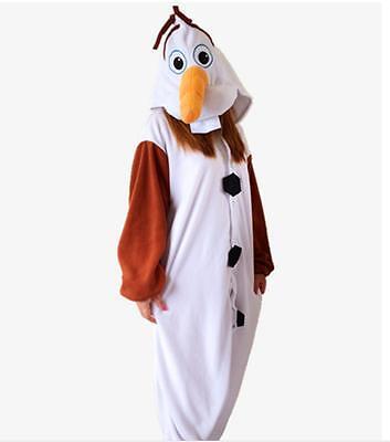 Olaf Snowman Onesie1 Kigurumi Fancy Dress Costume Hoodies Adult Cosplay Pajamas
