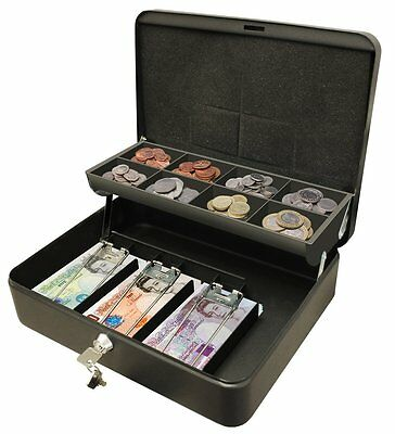 "12"" Petty Cash Box Black Metal Security Money Safe Tray Holder Key Lock Lockable"