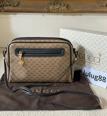 100% Authentic Vintage 1980 Gucci GG Monogram Plus Crossbody Camera Bag With Box