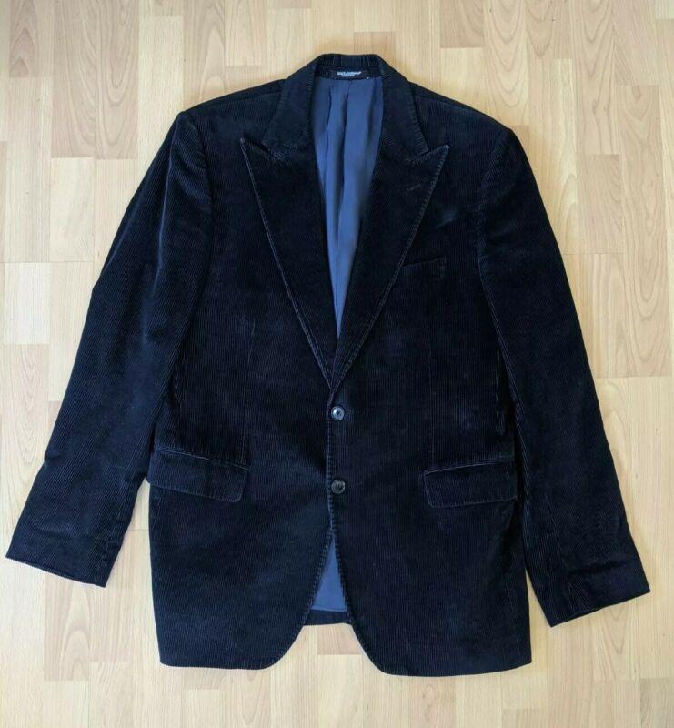 Mens Vintage Dolce And Gabbana Blue Velvet Blazer - Made in Italy