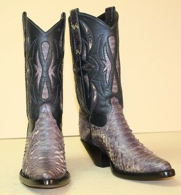 Handmade Custom Cowboy Boots Women's 5.5C Purple Python w/Blue Tops with Inlays
